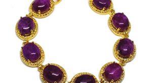 18 KGP vergoldet natur Sugilith Suedafrika rund lila Perlen Armband 310x165 - 18KGP vergoldet natur Sugilith Südafrika rund lila Perlen Armband